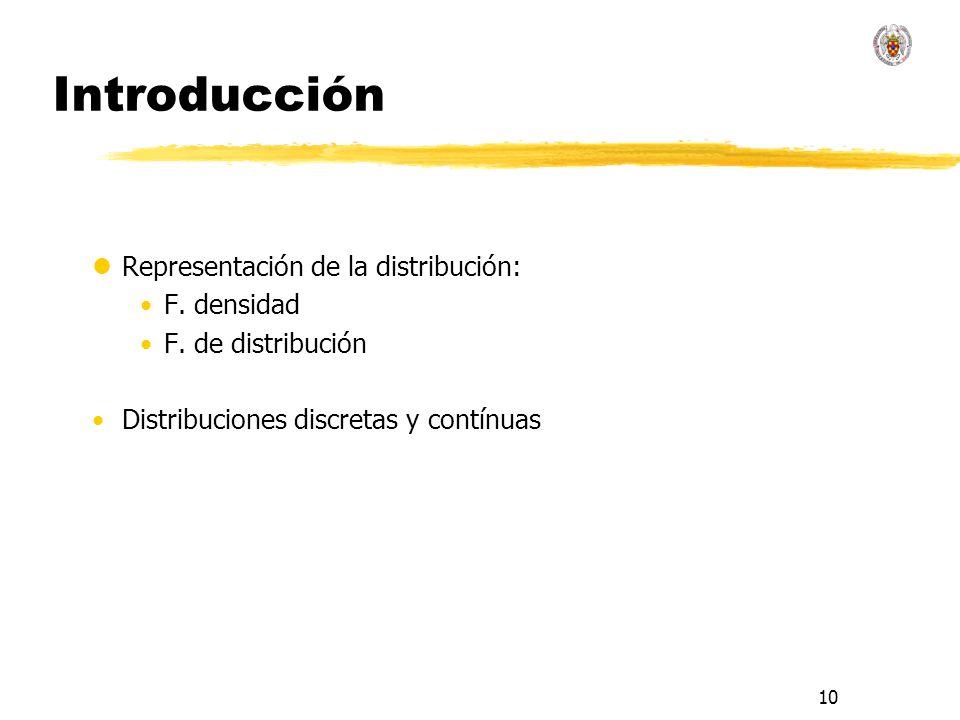 10 Introducción lRepresentación de la distribución: F. densidad F. de distribución Distribuciones discretas y contínuas