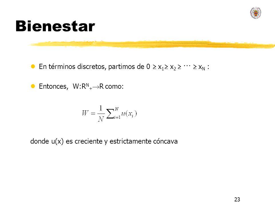 23 Bienestar lEn términos discretos, partimos de 0 x 1 x 2 ··· x N : lEntonces, W:R N + R como: donde u(x) es creciente y estrictamente cóncava