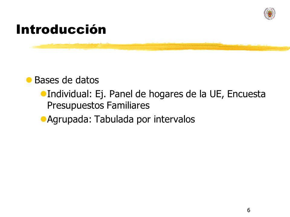 6 Introducción lBases de datos lIndividual: Ej. Panel de hogares de la UE, Encuesta Presupuestos Familiares lAgrupada: Tabulada por intervalos