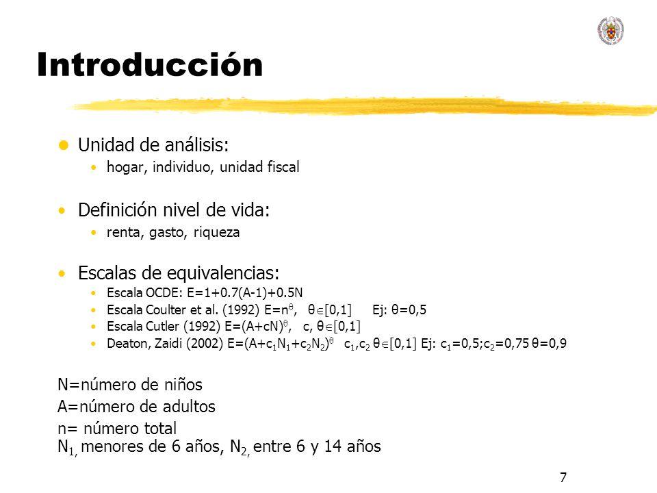 7 Introducción l Unidad de análisis: hogar, individuo, unidad fiscal Definición nivel de vida: renta, gasto, riqueza Escalas de equivalencias: Escala