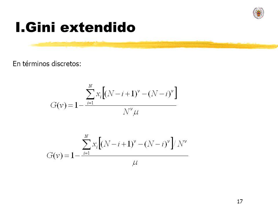 17 I.Gini extendido En términos discretos: