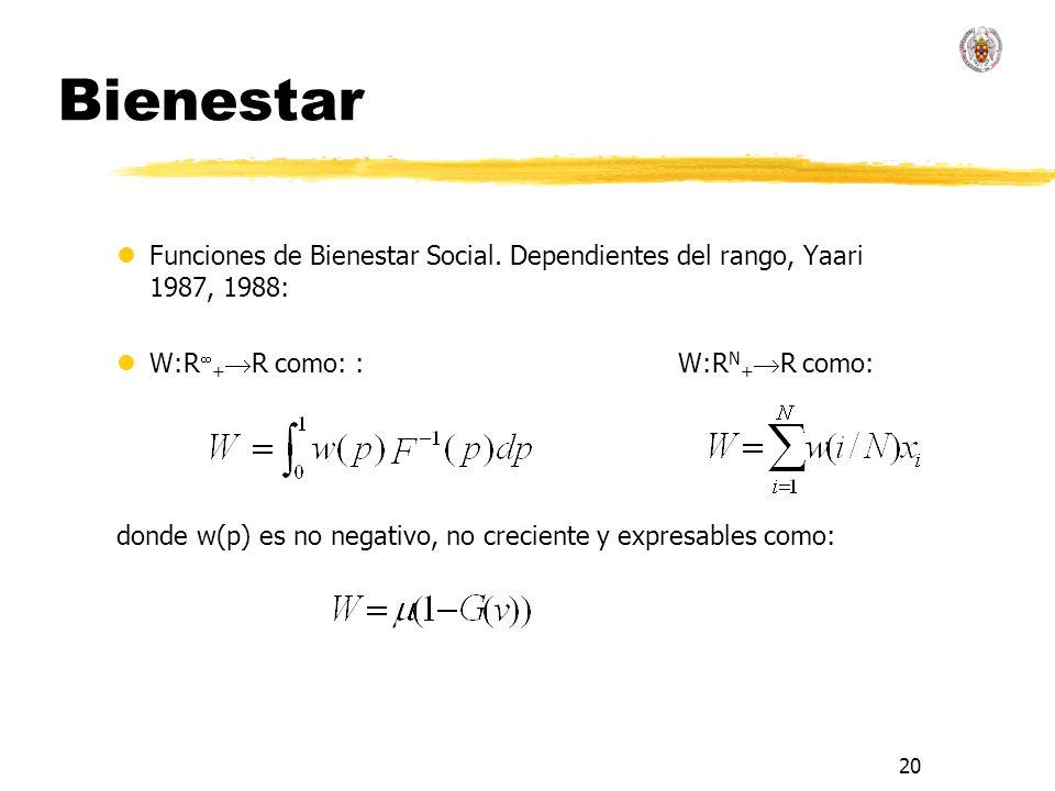 20 Bienestar lFunciones de Bienestar Social. Dependientes del rango, Yaari 1987, 1988: lW:R + R como: : W:R N + R como: donde w(p) es no negativo, no