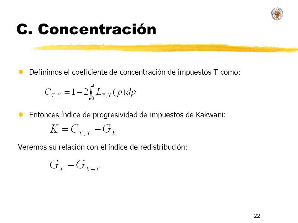 22 C. Concentración lDefinimos el coeficiente de concentración de impuestos T como: lEntonces índice de progresividad de impuestos de Kakwani: Veremos
