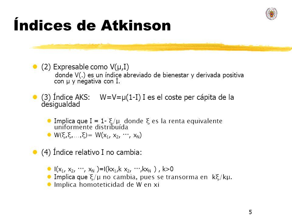 5 Índices de Atkinson l(2) Expresable como V(μ,I) donde V(.) es un índice abreviado de bienestar y derivada positiva con μ y negativa con I. l(3) Índi