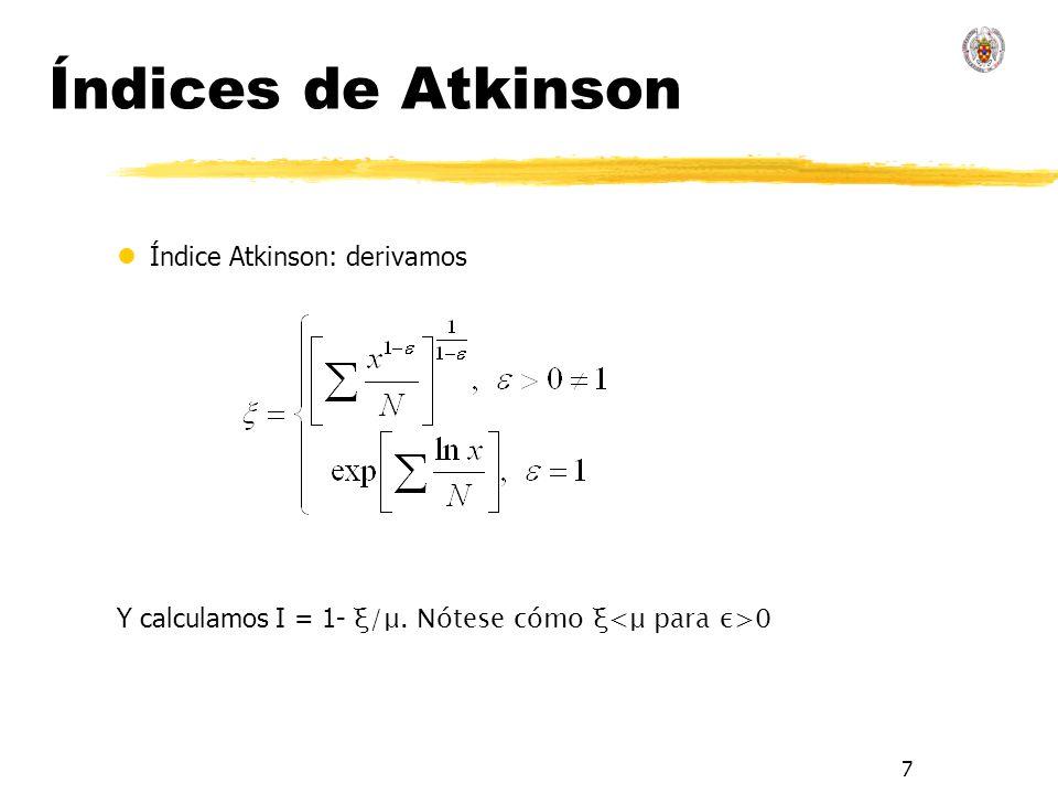 7 Índices de Atkinson lÍndice Atkinson: derivamos Y calculamos I = 1- ξ/μ. Nótese cómo ξ 0