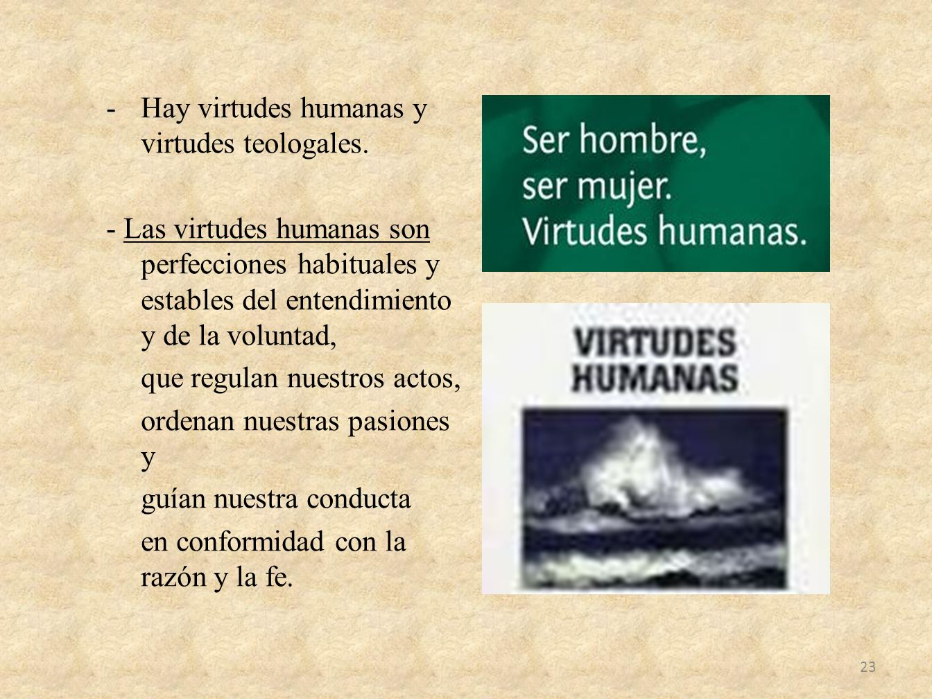 -Hay virtudes humanas y virtudes teologales. - Las virtudes humanas son perfecciones habituales y estables del entendimiento y de la voluntad, que reg