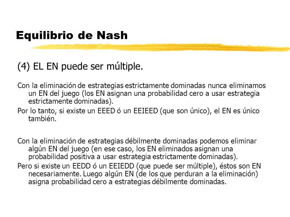 Equilibrio de Nash (4) EL EN puede ser múltiple. Con la eliminación de estrategias estrictamente dominadas nunca eliminamos un EN del juego (los EN as