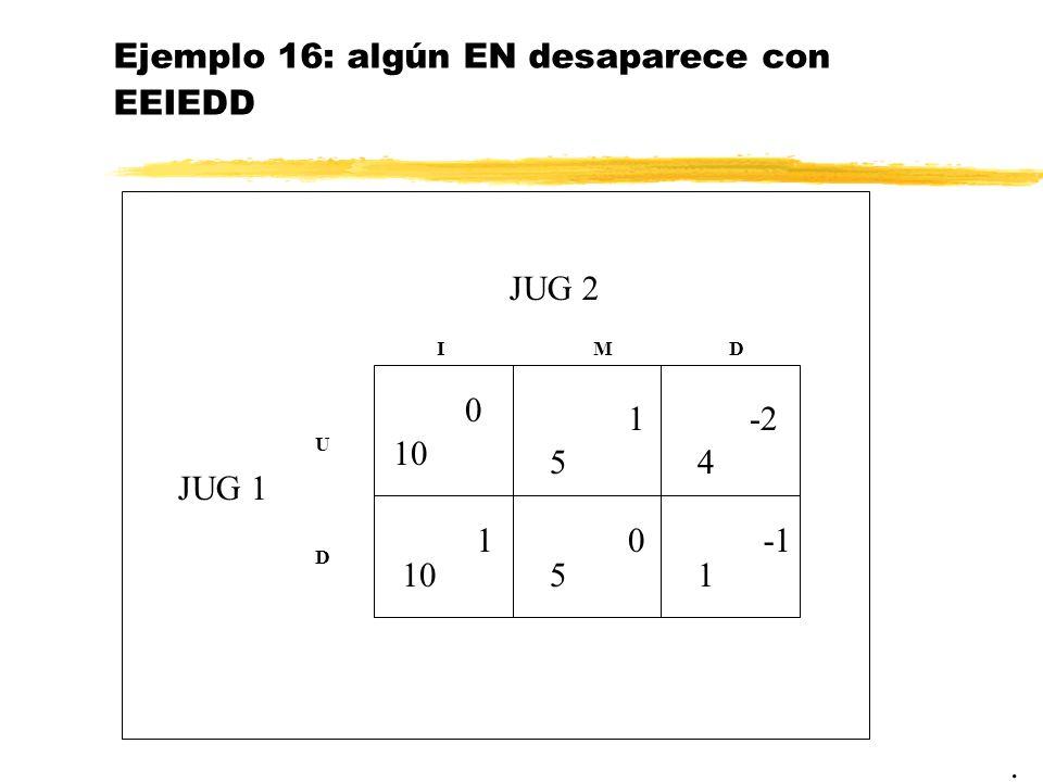 Ejemplo 16: algún EN desaparece con EEIEDD. JUG 2 JUG 1 10 IM U D 5 5 0 1 10 D 4 -2 1