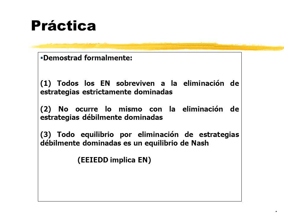 Práctica Demostrad formalmente: (1) Todos los EN sobreviven a la eliminación de estrategias estrictamente dominadas (2) No ocurre lo mismo con la elim