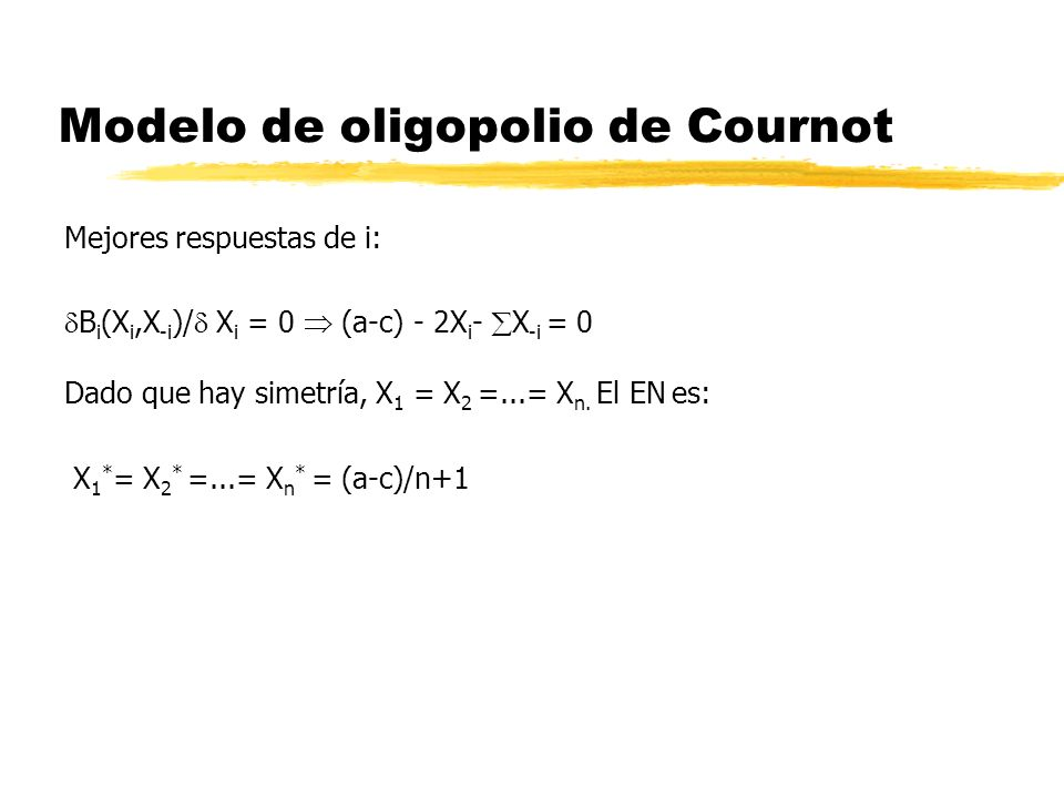 Modelo de oligopolio de Cournot Mejores respuestas de i: B i (X i,X -i )/ X i = 0 (a-c) - 2X i - X -i = 0 Dado que hay simetría, X 1 = X 2 =...= X n.
