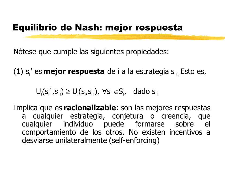 Equilibrio de Nash: mejor respuesta Nótese que cumple las siguientes propiedades: (1) s i * es mejor respuesta de i a la estrategia s -i. Esto es, U i