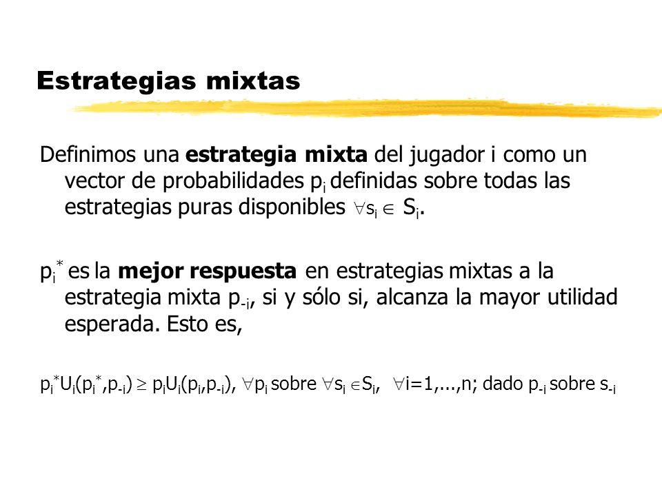 Estrategias mixtas Definimos una estrategia mixta del jugador i como un vector de probabilidades p i definidas sobre todas las estrategias puras dispo