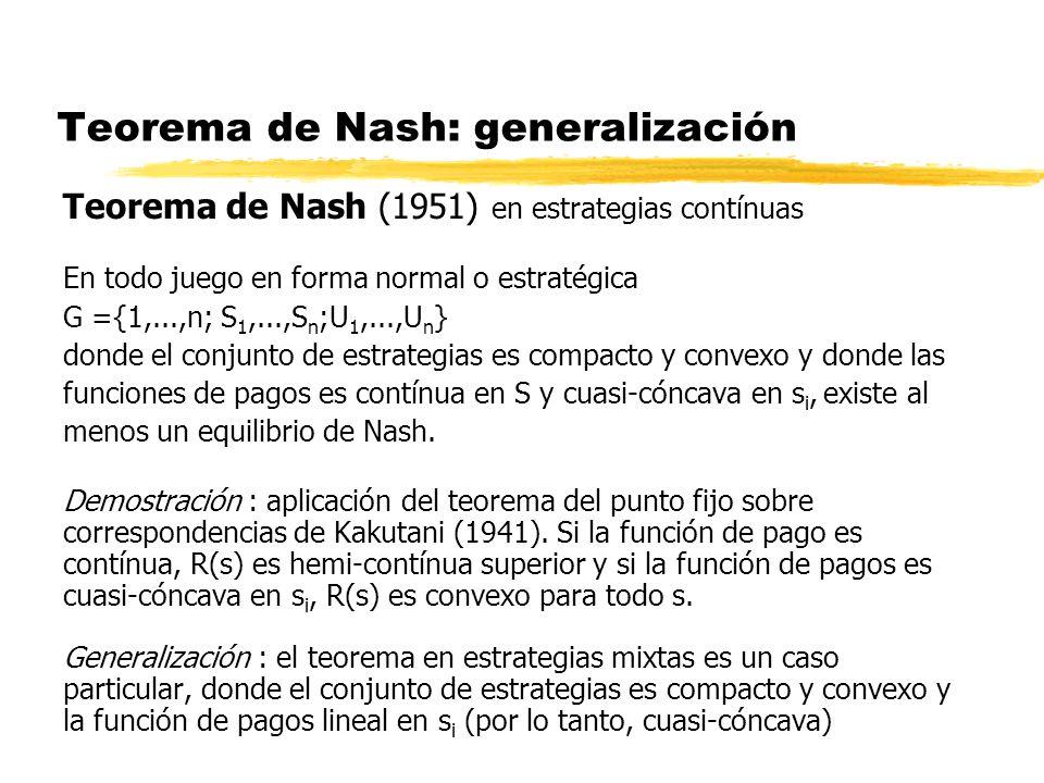 Teorema de Nash: generalización Teorema de Nash (1951) en estrategias contínuas En todo juego en forma normal o estratégica G ={1,...,n; S 1,...,S n ;