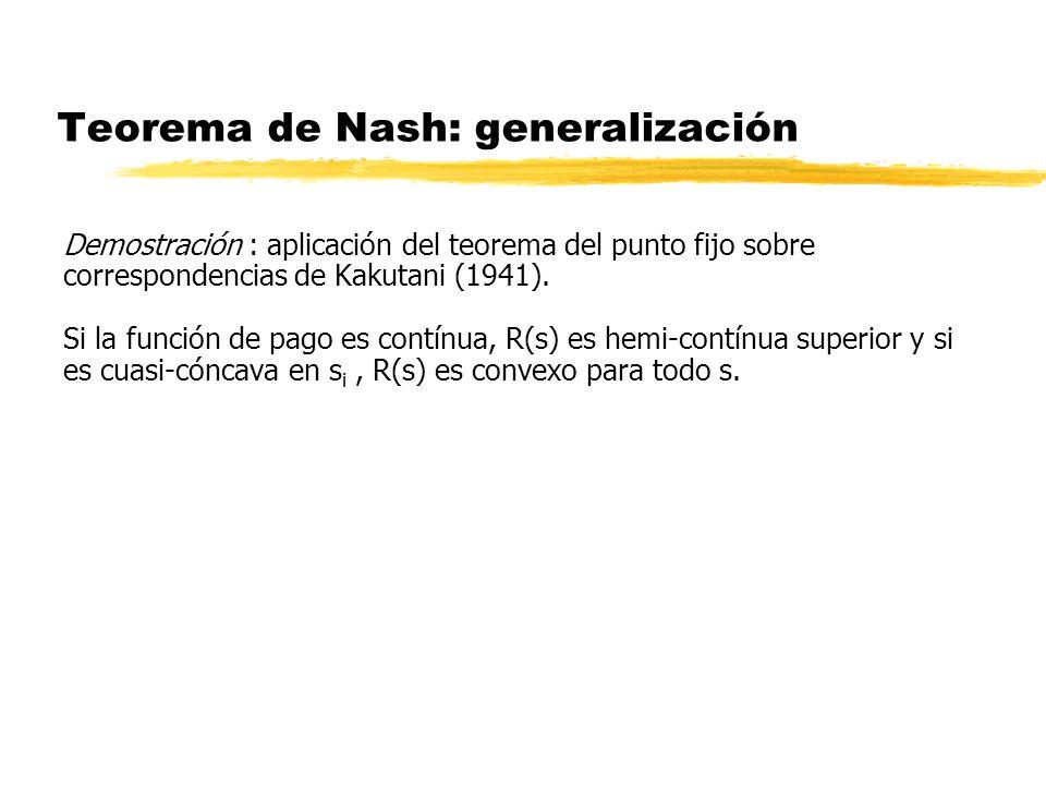 Teorema de Nash: generalización Demostración : aplicación del teorema del punto fijo sobre correspondencias de Kakutani (1941). Si la función de pago