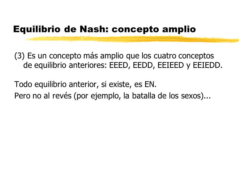 Equilibrio de Nash: concepto amplio (3) Es un concepto más amplio que los cuatro conceptos de equilibrio anteriores: EEED, EEDD, EEIEED y EEIEDD. Todo