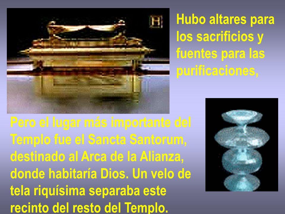 Hubo altares para los sacrificios y fuentes para las purificaciones, Pero el lugar más importante del Templo fue el Sancta Santorum, destinado al Arca