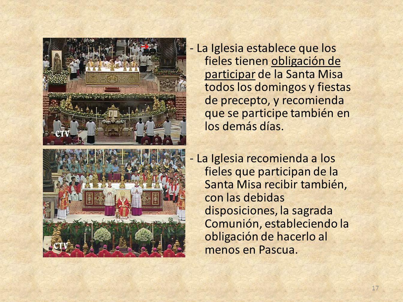 - La Iglesia establece que los fieles tienen obligación de participar de la Santa Misa todos los domingos y fiestas de precepto, y recomienda que se p