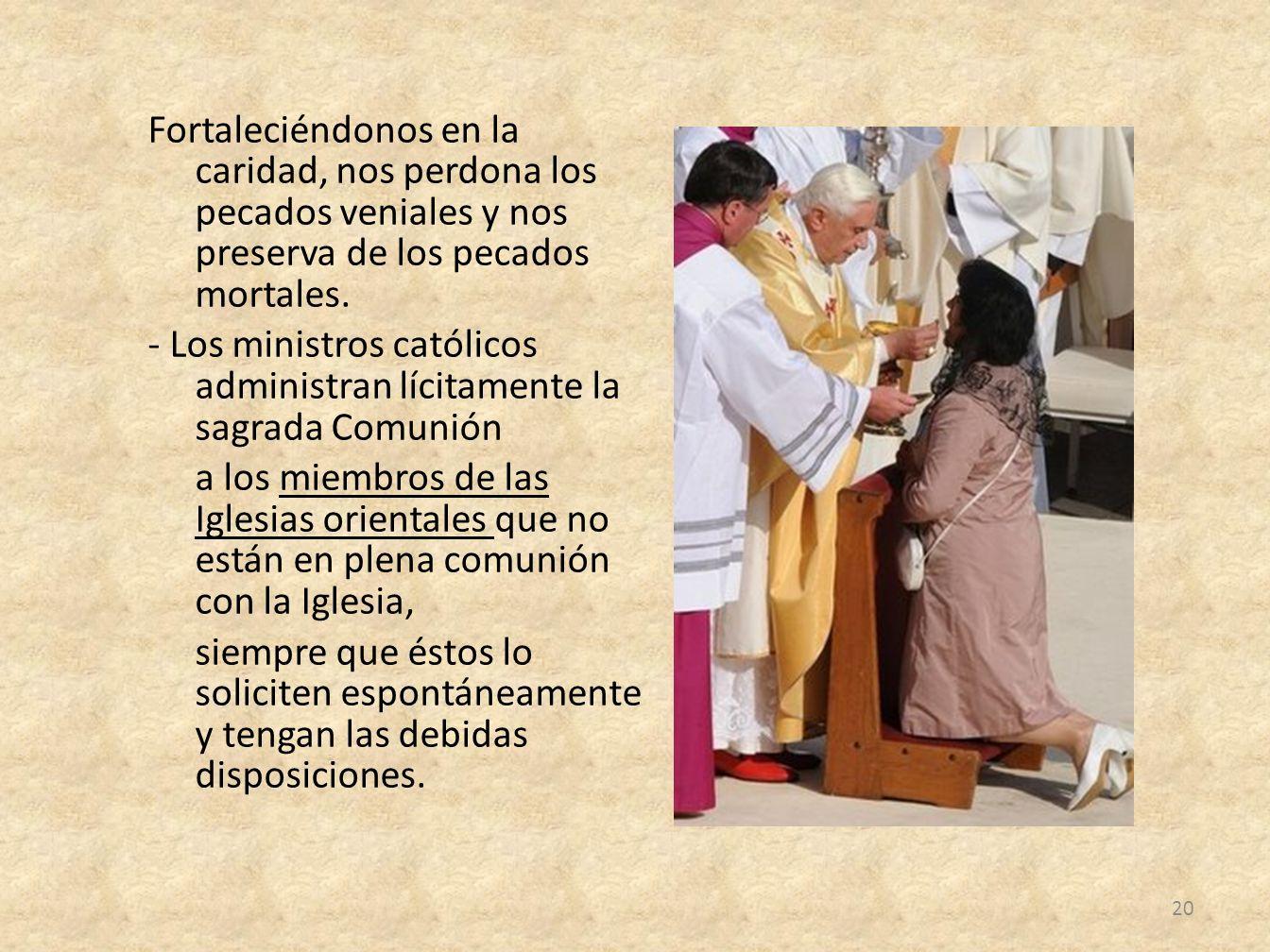 Fortaleciéndonos en la caridad, nos perdona los pecados veniales y nos preserva de los pecados mortales. - Los ministros católicos administran lícitam