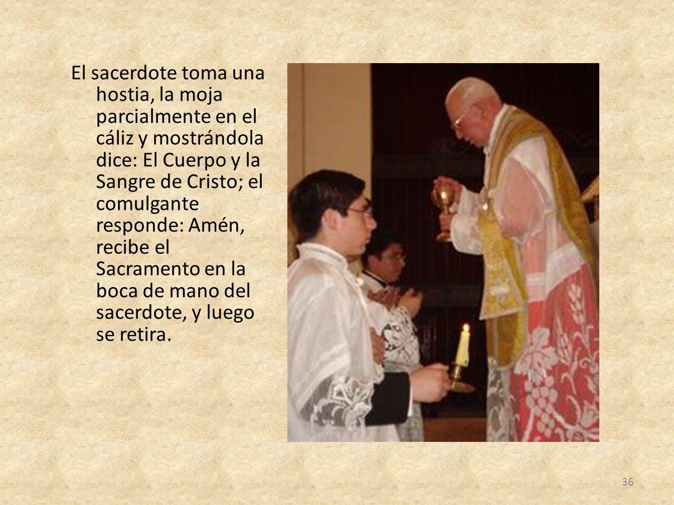 El sacerdote toma una hostia, la moja parcialmente en el cáliz y mostrándola dice: El Cuerpo y la Sangre de Cristo; el comulgante responde: Amén, reci