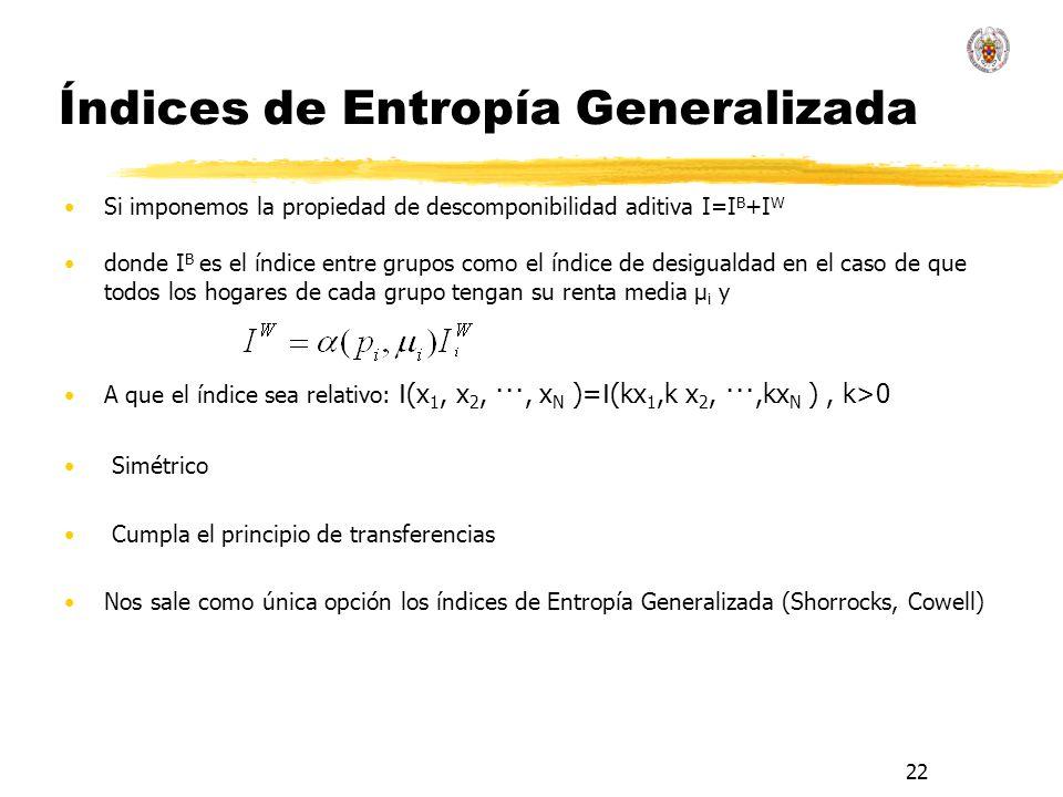 22 Índices de Entropía Generalizada Si imponemos la propiedad de descomponibilidad aditiva I=I B +I W donde I B es el índice entre grupos como el índice de desigualdad en el caso de que todos los hogares de cada grupo tengan su renta media μ i y A que el índice sea relativo: I (x 1, x 2, ···, x N )= I (kx 1,k x 2, ···,kx N ), k>0 Simétrico Cumpla el principio de transferencias Nos sale como única opción los índices de Entropía Generalizada (Shorrocks, Cowell)