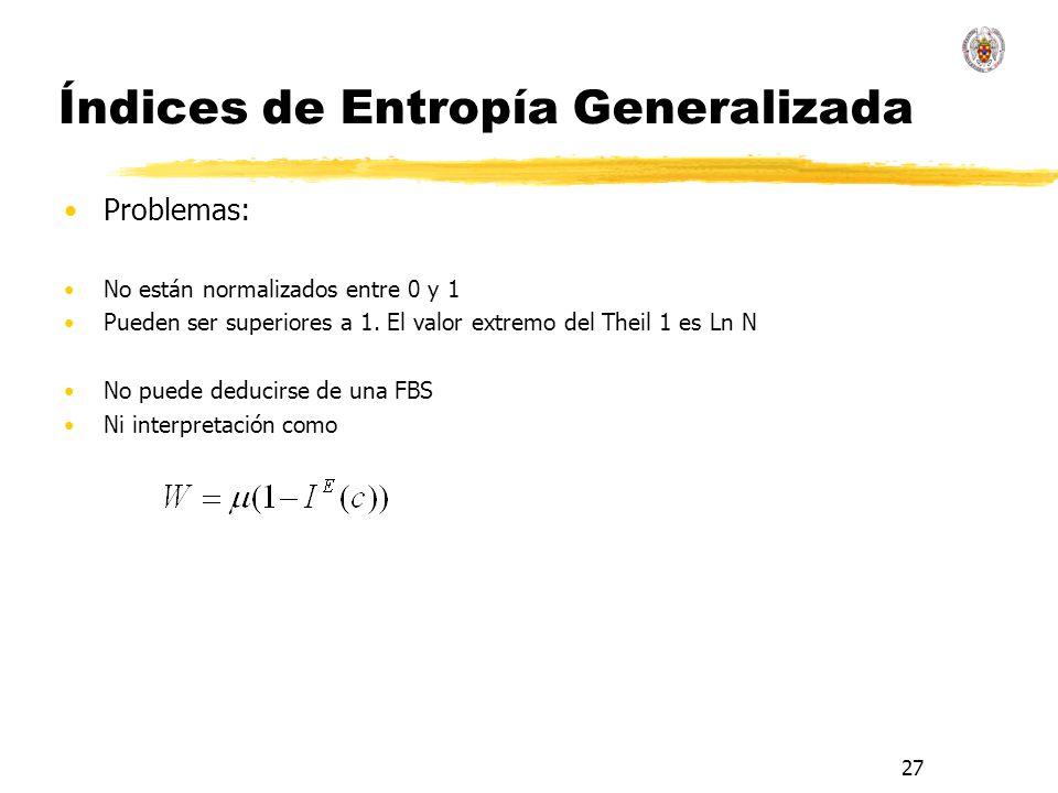 27 Índices de Entropía Generalizada Problemas: No están normalizados entre 0 y 1 Pueden ser superiores a 1.