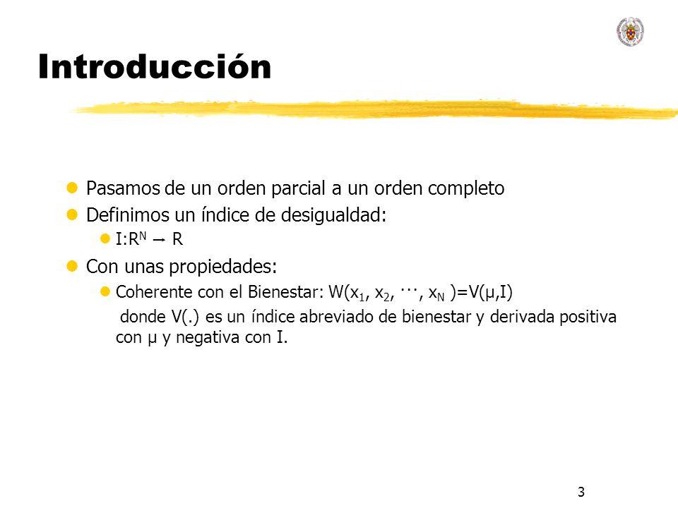 3 Introducción lPasamos de un orden parcial a un orden completo lDefinimos un índice de desigualdad: I:R N R lCon unas propiedades: lCoherente con el Bienestar: W(x 1, x 2, ···, x N )=V(μ,I) donde V(.) es un índice abreviado de bienestar y derivada positiva con μ y negativa con I.