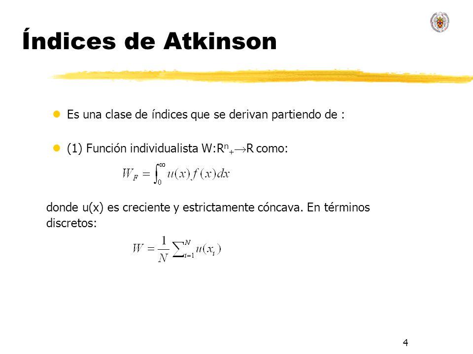 4 Índices de Atkinson lEs una clase de índices que se derivan partiendo de : l(1) Función individualista W:R n + R como: donde u(x) es creciente y estrictamente cóncava.