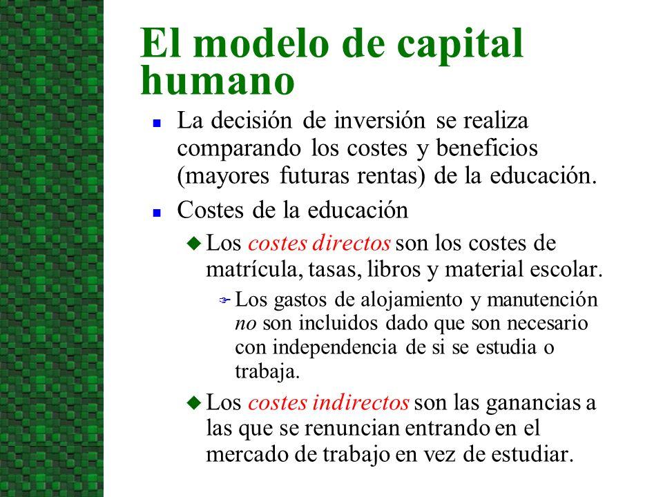 La decisión de inversión se realiza comparando los costes y beneficios (mayores futuras rentas) de la educación. Costes de la educación Los costes dir