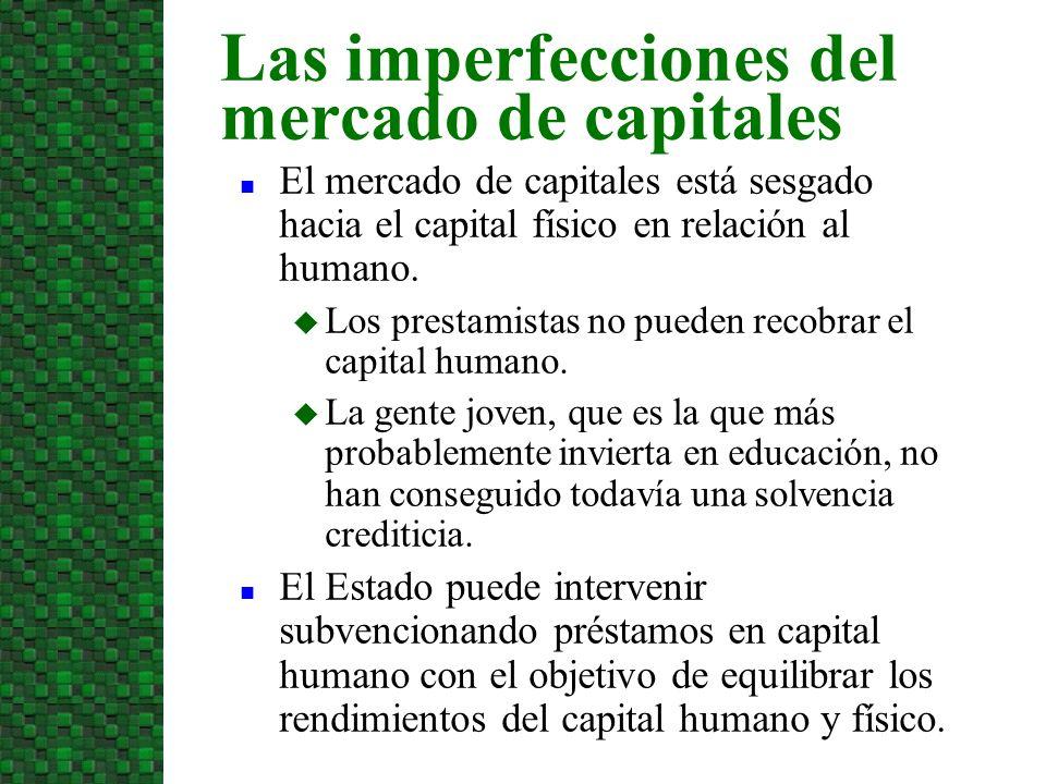 El mercado de capitales está sesgado hacia el capital físico en relación al humano. Los prestamistas no pueden recobrar el capital humano. La gente jo