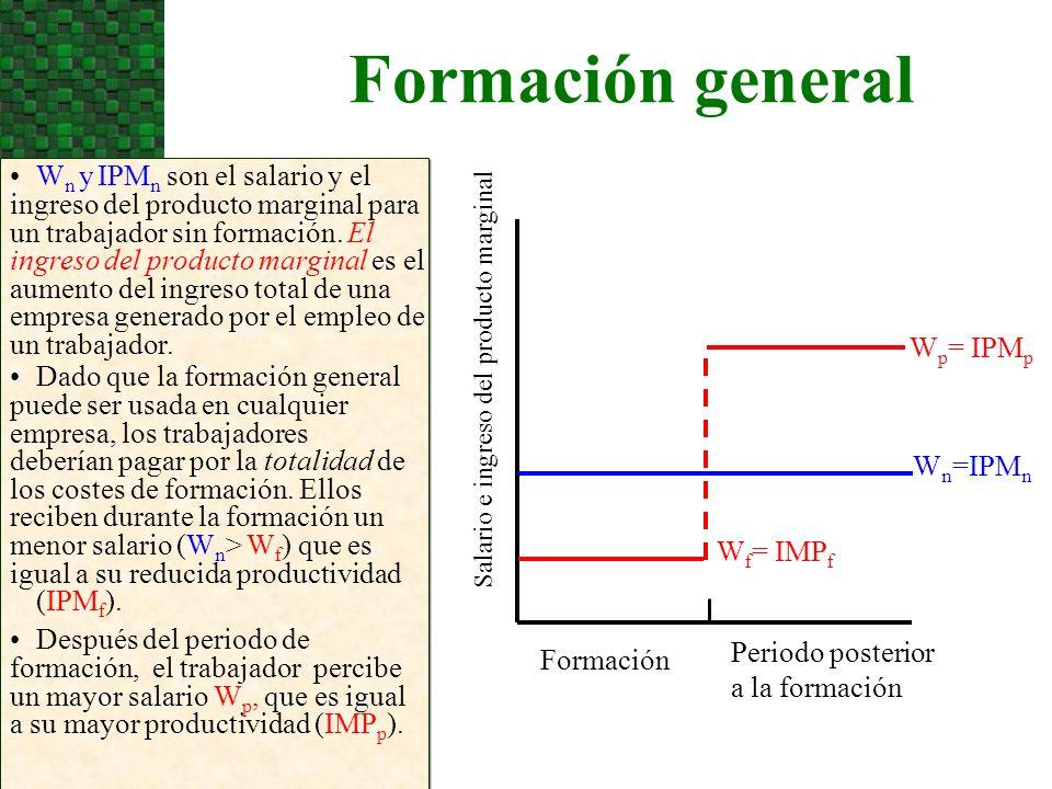 Formación general Salario e ingreso del producto marginal W n y IPM n son el salario y el ingreso del producto marginal para un trabajador sin formaci