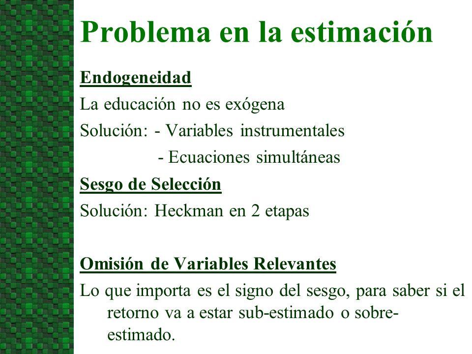 Problema en la estimación Endogeneidad La educación no es exógena Solución: - Variables instrumentales - Ecuaciones simultáneas Sesgo de Selección Sol