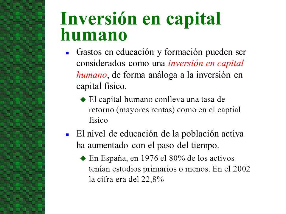 Duración de la corriente de renta Cuanto más dure la corriente de ganancias adicionales tras la inversión, más probable es que el valor actual neto de una inversión en capital humano sea positivo.