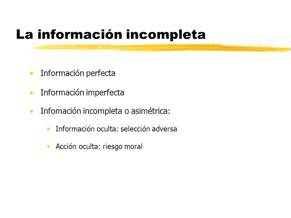 La información incompleta Información perfecta Información imperfecta Infomación incompleta o asimétrica: Información oculta: selección adversa Acción