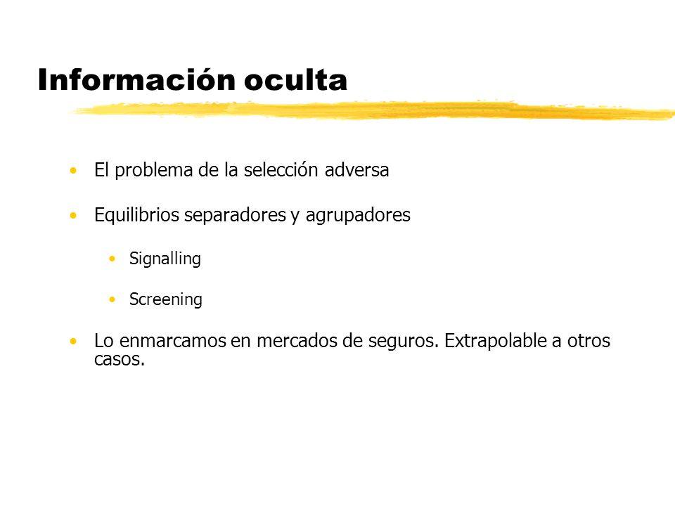 Información oculta 1.Empresas competitivas neutrales con respecto a riego 2.