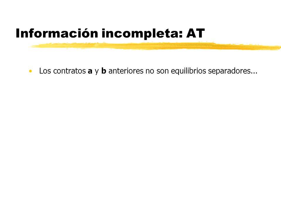 Información incompleta: AT Los contratos a y b anteriores no son equilibrios separadores...