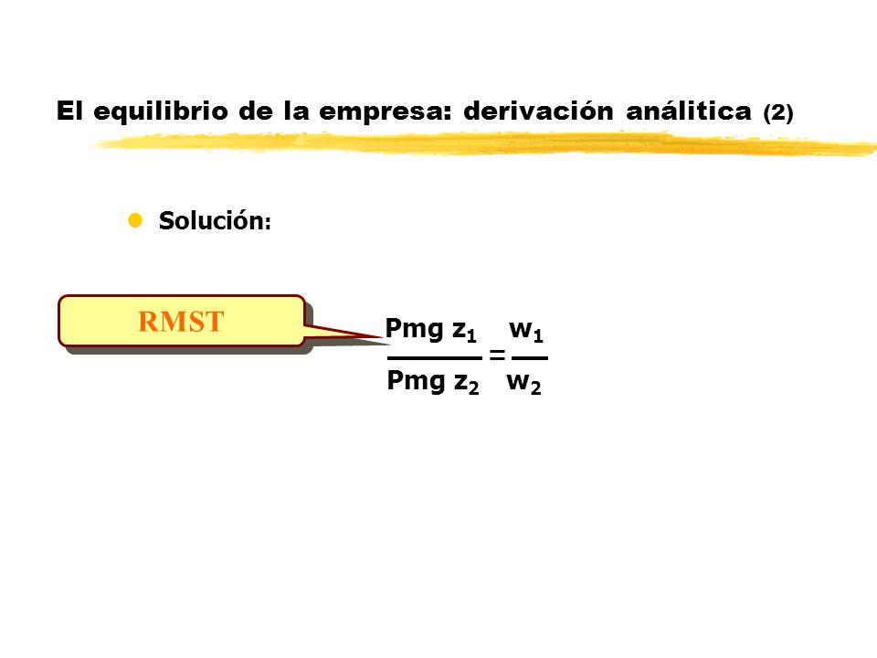 El equilibrio de la empresa: derivación análitica (2) lSolución : Pmg z 1 w 1 Pmg z 2 w 2 RMST