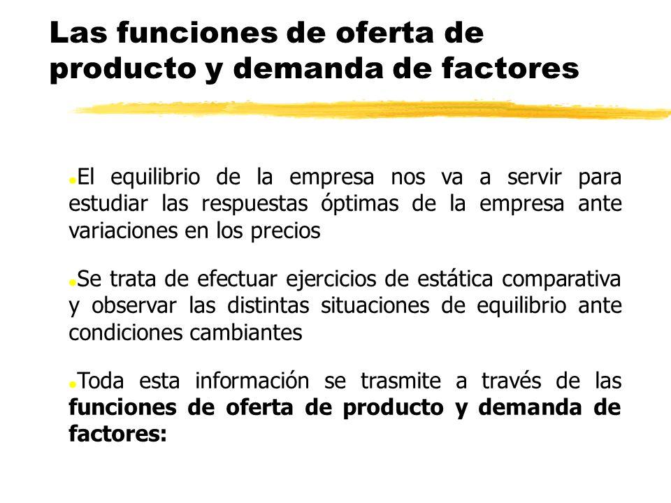 Las funciones de oferta de producto y demanda de factores l El equilibrio de la empresa nos va a servir para estudiar las respuestas óptimas de la emp
