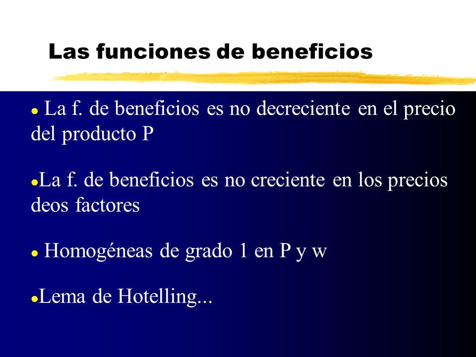 l La f. de beneficios es no decreciente en el precio del producto P l La f. de beneficios es no creciente en los precios deos factores l Homogéneas de