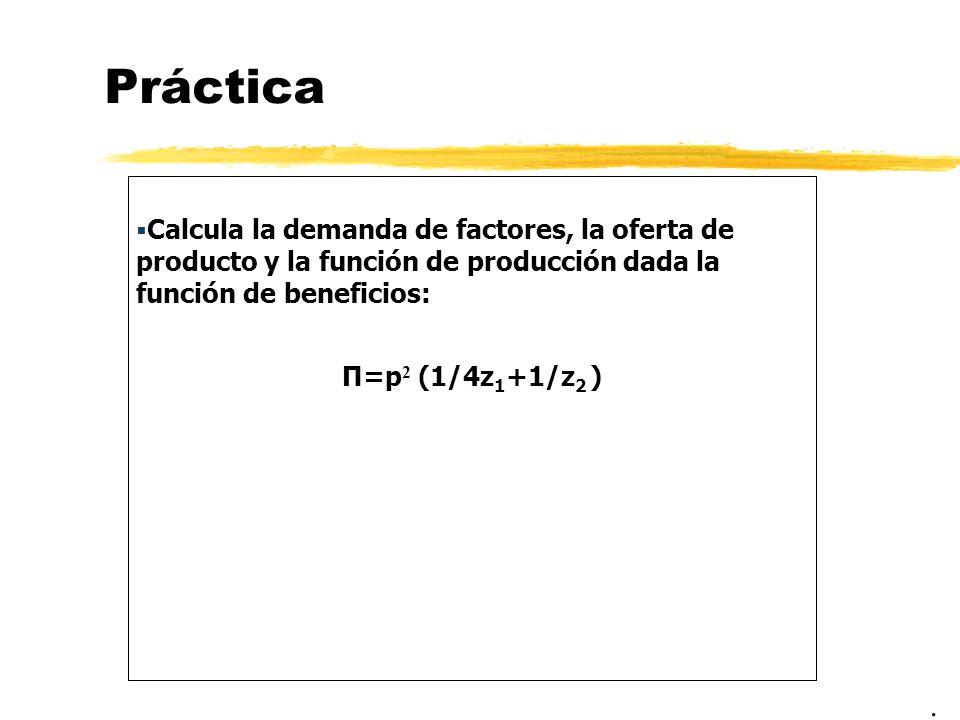 Práctica Calcula la demanda de factores, la oferta de producto y la función de producción dada la función de beneficios: Π=p 2 (1/4z 1 +1/z 2 ).