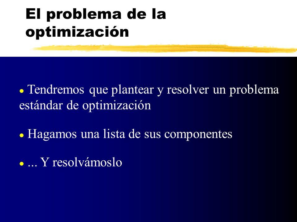 l Tendremos que plantear y resolver un problema estándar de optimización l Hagamos una lista de sus componentes l... Y resolvámoslo El problema de la