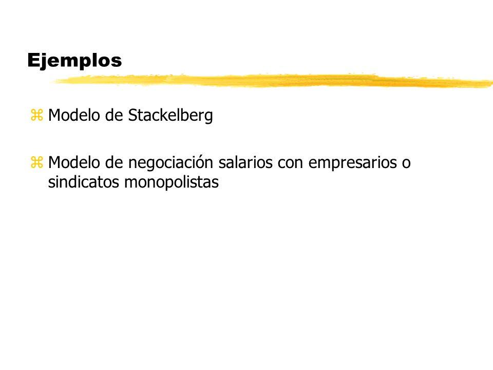 Ejemplos zModelo de Stackelberg zModelo de negociación salarios con empresarios o sindicatos monopolistas
