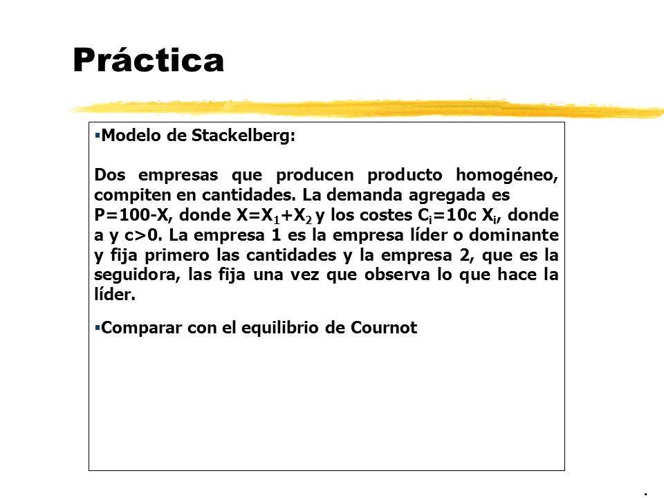 Práctica Modelo de Stackelberg: Dos empresas que producen producto homogéneo, compiten en cantidades. La demanda agregada es P=100-X, donde X=X 1 +X 2
