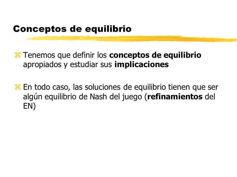 Conceptos de equilibrio zTenemos que definir los conceptos de equilibrio apropiados y estudiar sus implicaciones zEn todo caso, las soluciones de equi