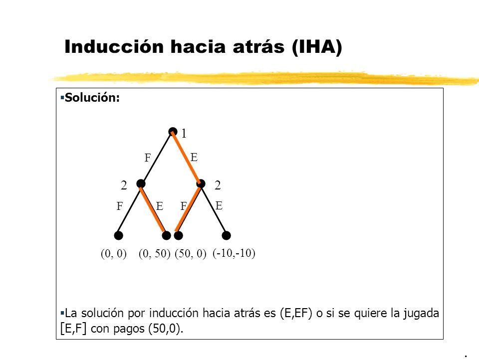 Inducción hacia atrás (IHA) Solución: La solución por inducción hacia atrás es (E,EF) o si se quiere la jugada [ E,F ] con pagos (50,0).. 1 22 (-10,-1