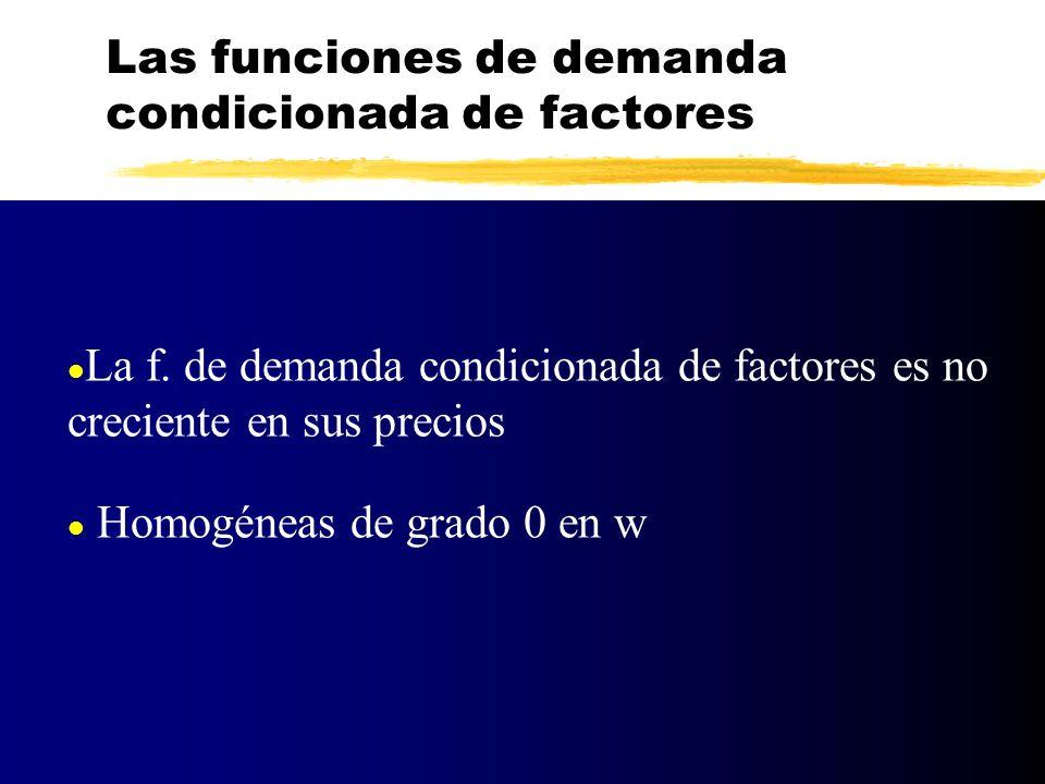 l La f. de demanda condicionada de factores es no creciente en sus precios l Homogéneas de grado 0 en w Las funciones de demanda condicionada de facto
