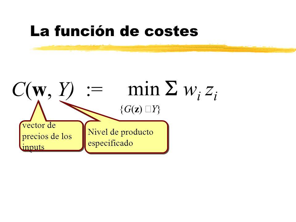 C(w, Y) := vector de precios de los inputs vector de precios de los inputs Nivel de producto especificado min w i z i {G(z) Y} La función de costes