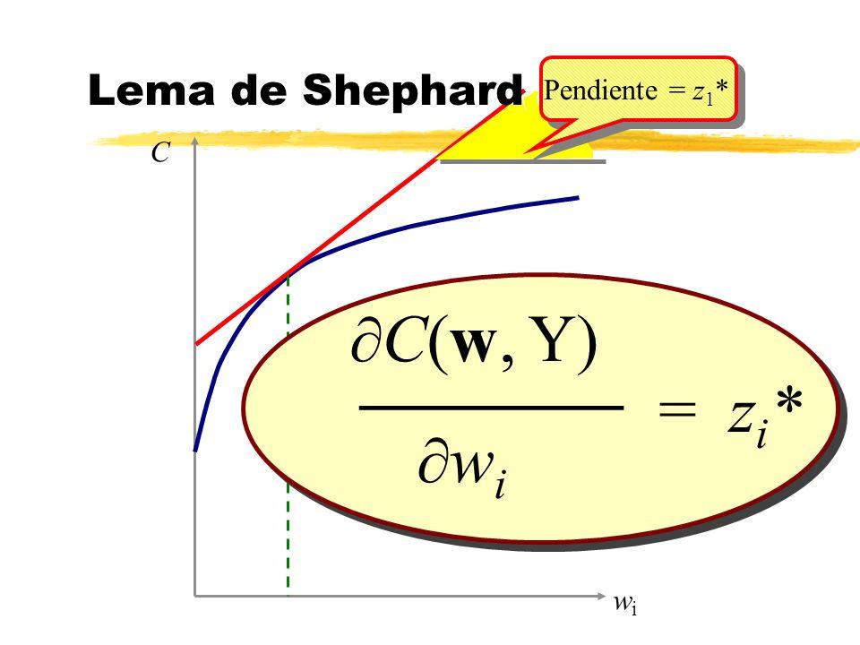 C(w, Y) w i = z i * _______ wiwi C Lema de Shephard Pendiente = z 1 *