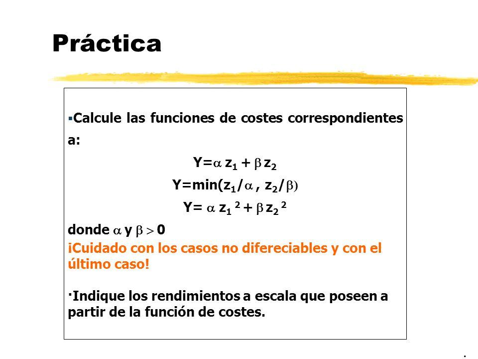 Práctica Calcule las funciones de costes correspondientes a: Y= z 1 + z 2 Y=min(z 1 /, z 2 / ) Y= z 1 2 + z 2 2 donde y 0 ¡Cuidado con los casos no di