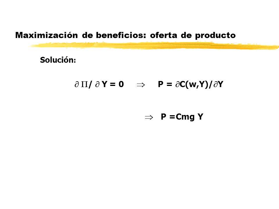 Maximización de beneficios: oferta de producto Solución : / Y = 0 P = C(w,Y)/ Y P =Cmg Y