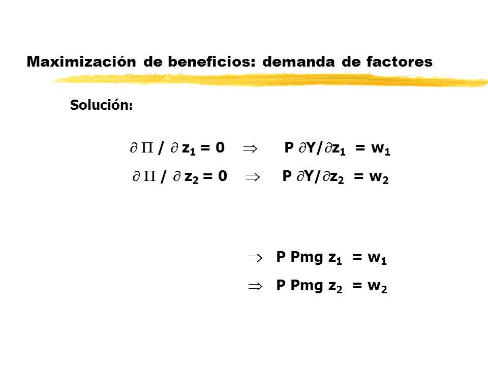 Maximización de beneficios: demanda de factores Solución : / z 1 = 0 P Y/ z 1 = w 1 / z 2 = 0 P Y/ z 2 = w 2 P Pmg z 1 = w 1 P Pmg z 2 = w 2
